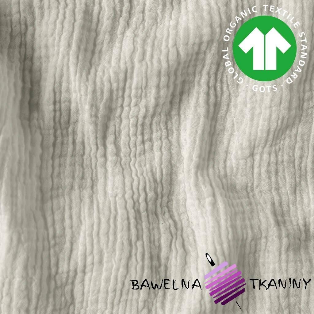 Muślin bawełniany double gaze ecru (Cloud Dancer)