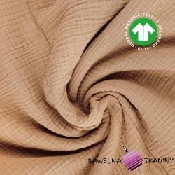 Muślin bawełniany double gauze kakaowy (Tiger's Eye)