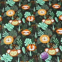 zwierzęta w dżungli na ciemno zielonym tle