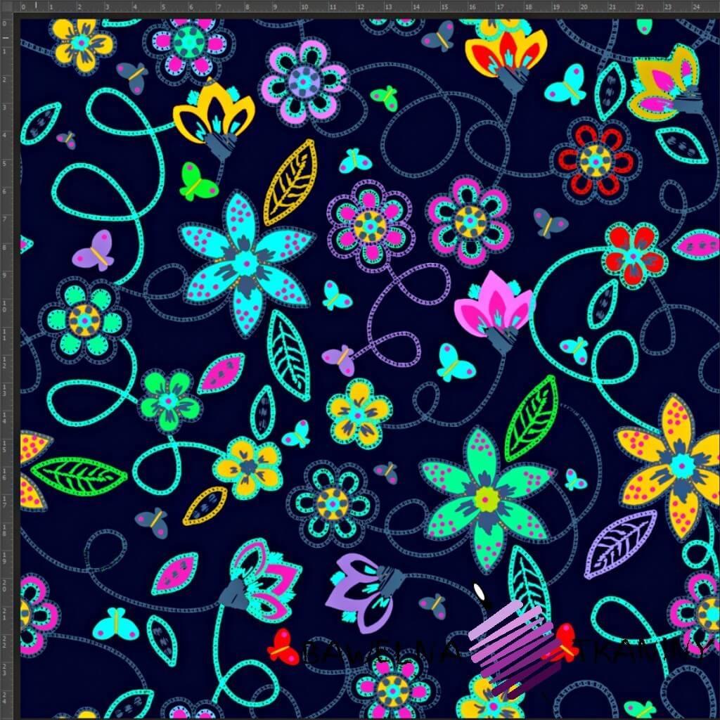 Dzianina Jersey druk cyfrowy kwiatki neonowe na granatowym tle