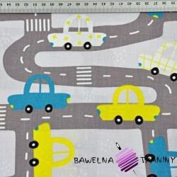 Bawełna ulice z samochodami szare na  jasno szarym tle