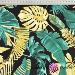 liście złoto szmaragdowe na czarnym tle