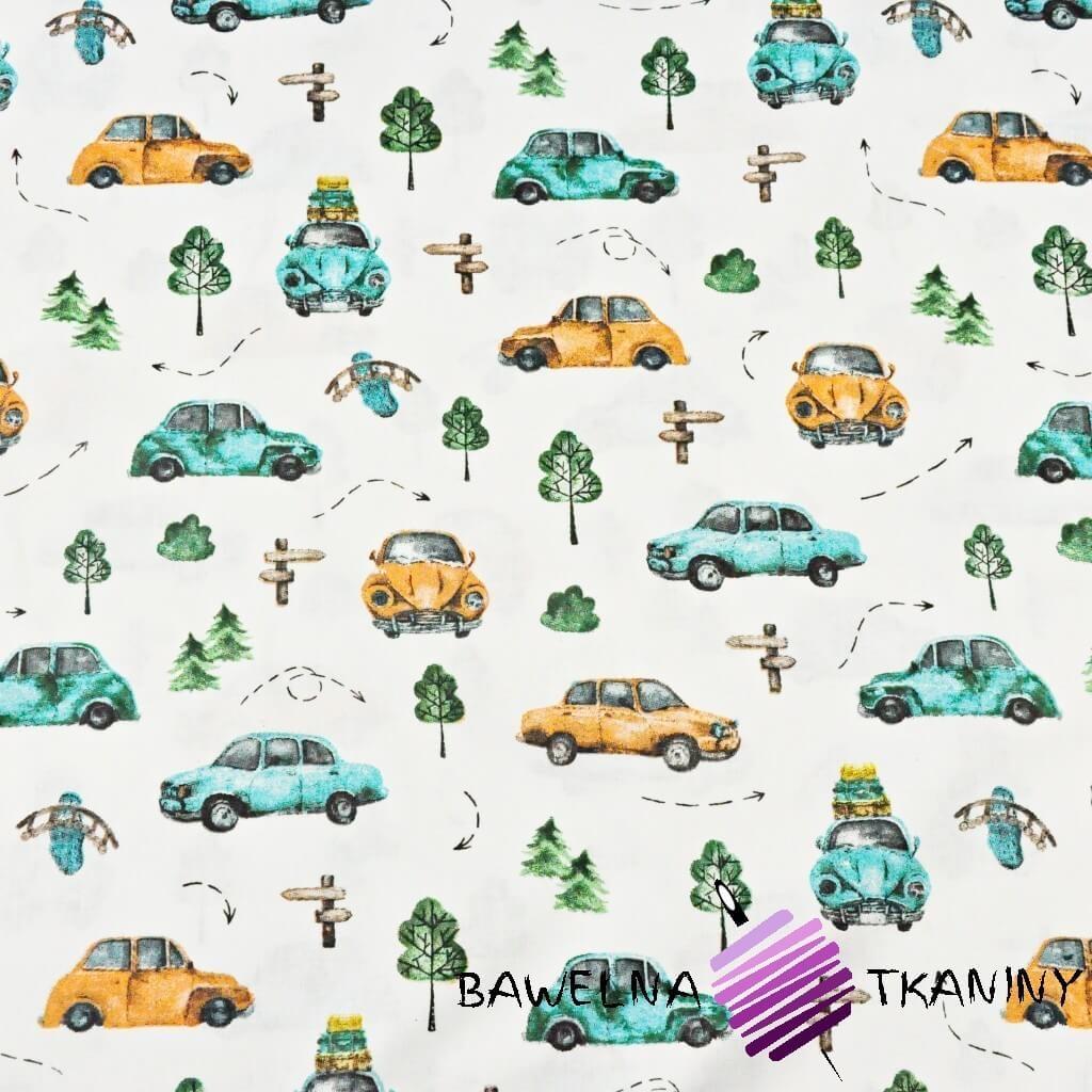 Bawełna samochody garbusy turkusowo pomarańczowe na białym tle