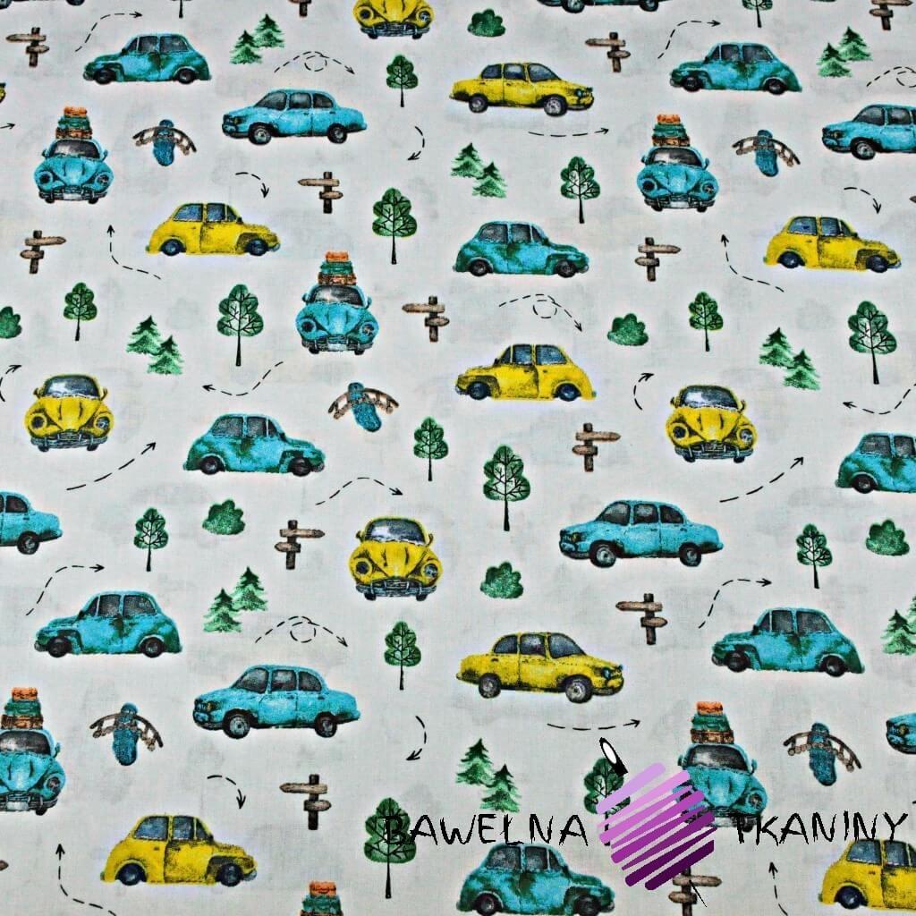 Bawełna samochody garbusy turkusowo żółte na szarym tle