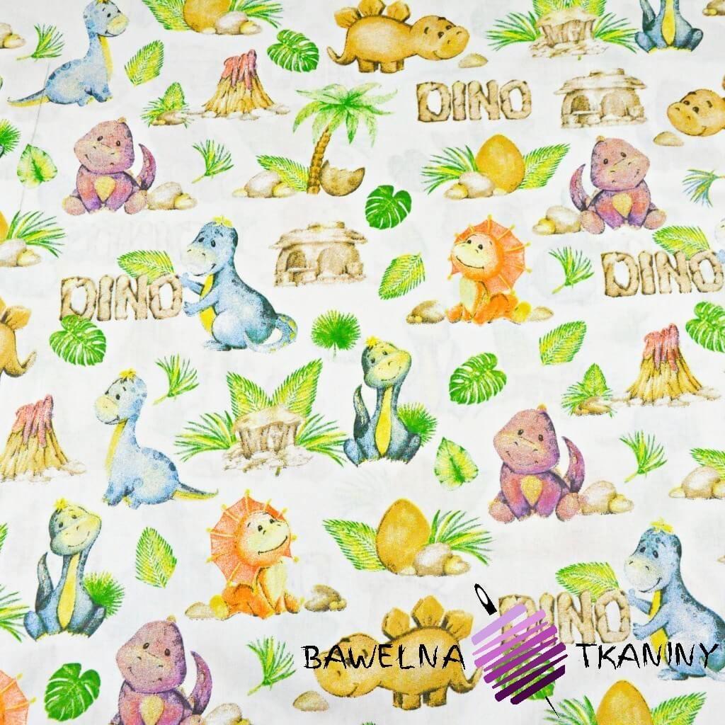 Bawełna dinozaury pomarańczowo zielone na białym