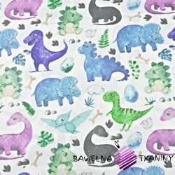 Bawełna dinozaury z pterodaktylem niebiesko zielone na białym tle