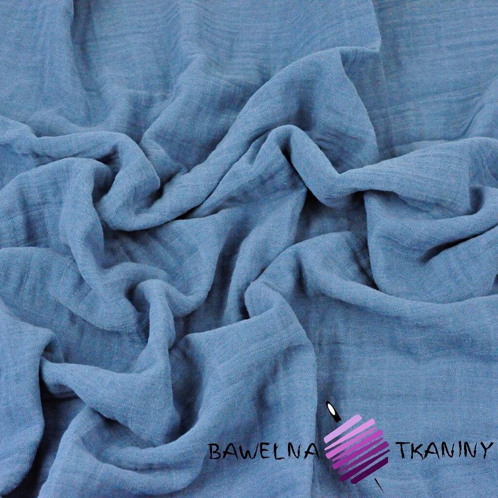 Muślin bawełniany jeansowy