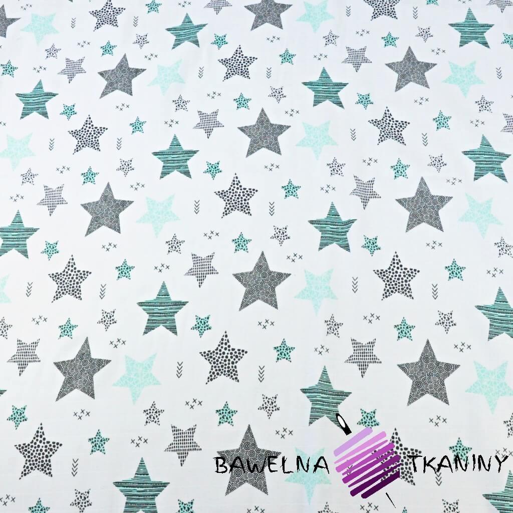 Muślin bawełniany gwiazdki wzorzyste miętowe na białym tle