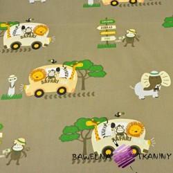Bawełna zwierzęta Safari bus na beżowym tle