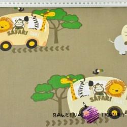 zwierzęta Safari bus na khaki tle