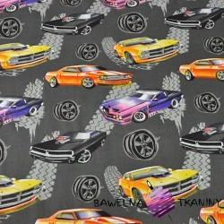 Bawełna samochody tuningowe na ciemno szarym tle