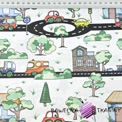Bawełna samochody na ulicach z drzewkami na białym tle