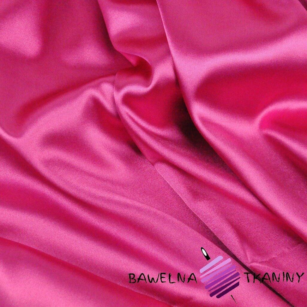 Tkanina ubraniowa satyna z lycrą - fuksja