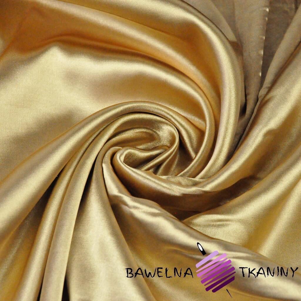 Tkanina ubraniowa satyna z lycrą - złoto