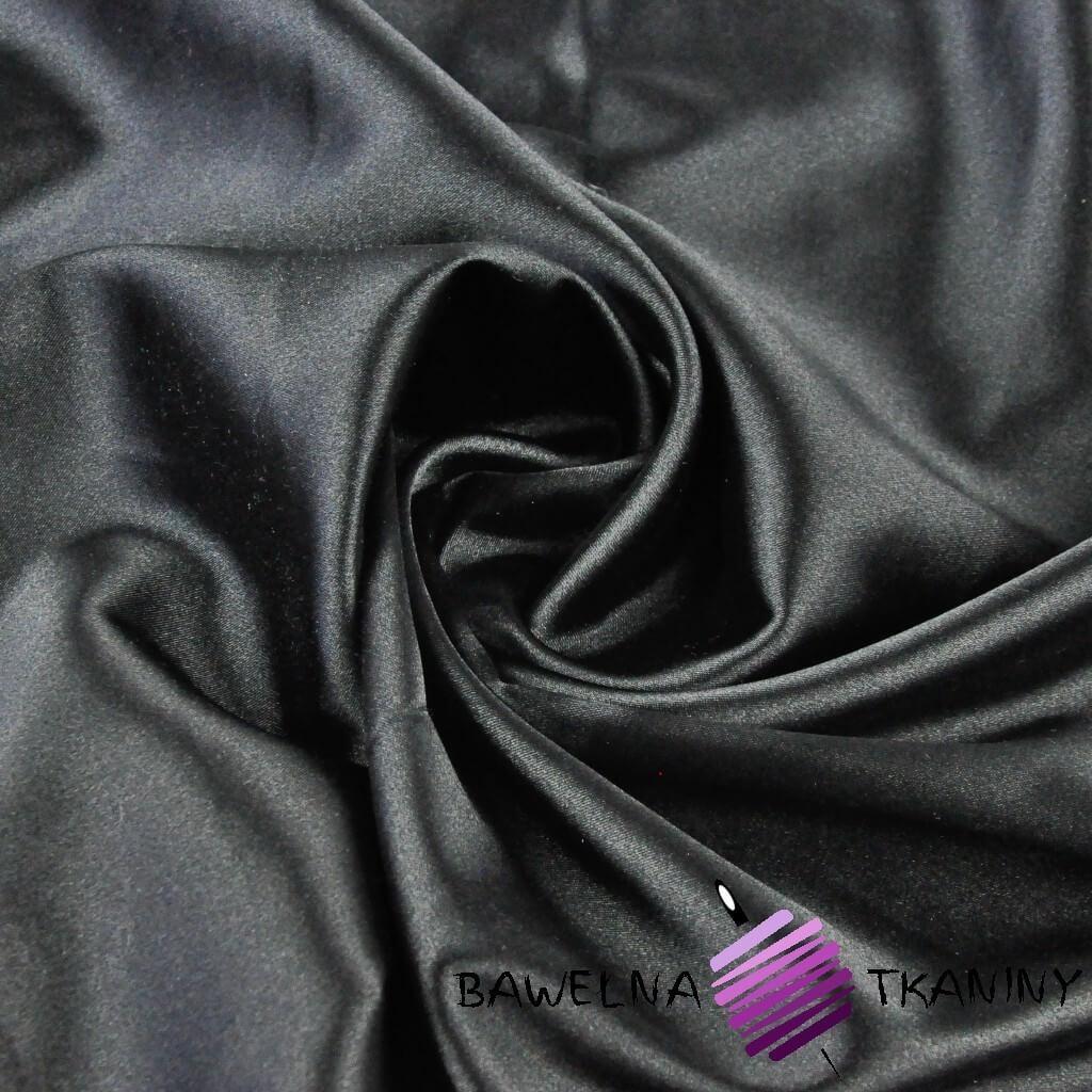 Tkanina ubraniowa satyna z lycrą - czarny