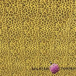 Muślin bawełniany kreszowany panterka na musztardowym tle