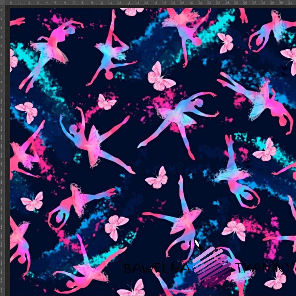 Dzianina Jersey druk cyfrowy - kolorowe baletnice na granatowym tle