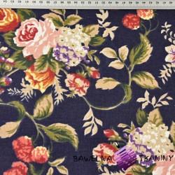 Bawełna zasłonowa róże angielskie na granatowy tle