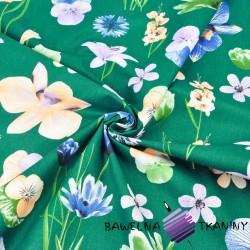 kwiaty wiosenne na ciemno zielonym tle