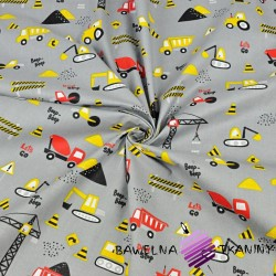 Pojazdy budowlane żółto czerwone na szarym tle