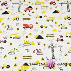 Pojazdy budowlane żółto czerwone na białym tle