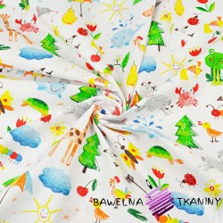 zwierzątka rysowane kolorowe na białym tle