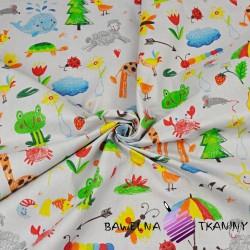zwierzątka rysowane kolorowe na szarym tle