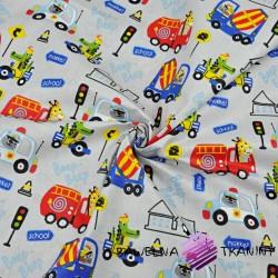 Bawełna zwierzęta w pojazdach kolorowych na szarym tle