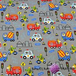 Bawełna zwierzęta w pojazdach kolorowych na ciemno szarym tle