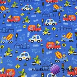 Bawełna zwierzęta w pojazdach kolorowych na szafirowym tle
