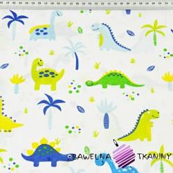 Bawełna dinozaury niebiesko zielone z palemkami na białym tle