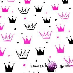 Bawełna korony z kropkami różowo czarne na białym tle