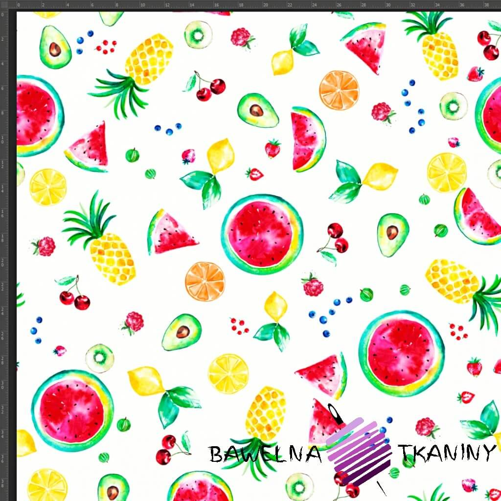 Cotton Jersey knit digital printing of colourful fruit on white background