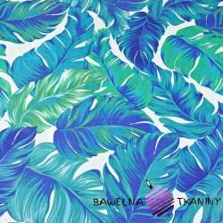 Liście tropikalne niebiesko zielone na białym tle