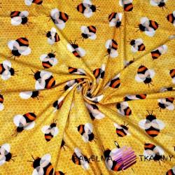Dzianina Jersey druk cyfrowy - pszczółki na plastrze miodu