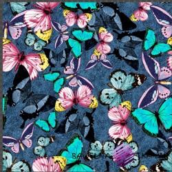 Dzianina Jersey druk cyfrowy - motyle na jeansowym tle