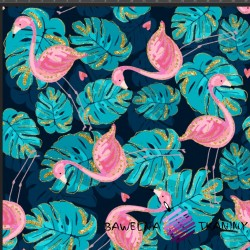 Cotton Jersey knit digital printing gilded flamingos in monstera leaves on a navy blue background