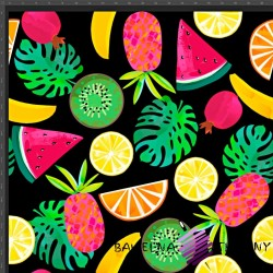 Cotton Jersey knit digital printing of tropical fruit on a black background