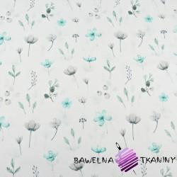 Kwiaty polne turkusowo szare na białym tle
