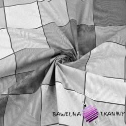 Bawełna krata 3D biało szara