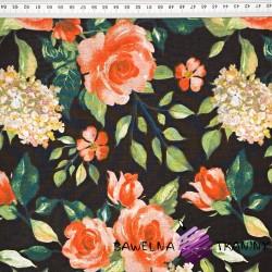 kwiaty róże na czarnym tle - 220cm