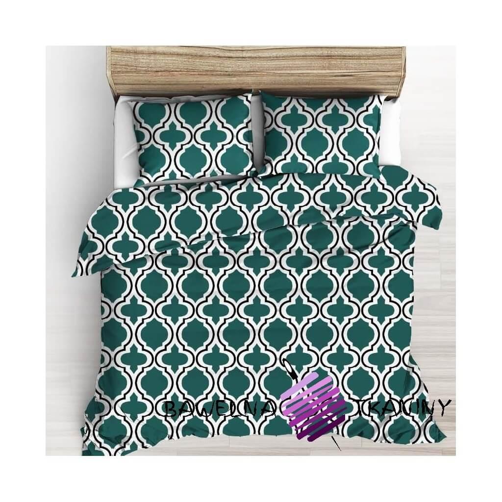 Bawełna Mozaika marokańska ciemno zielona