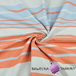Tkanina dekoracyjna pasy szerokie i wąskie pomarańczowo biało błękitne