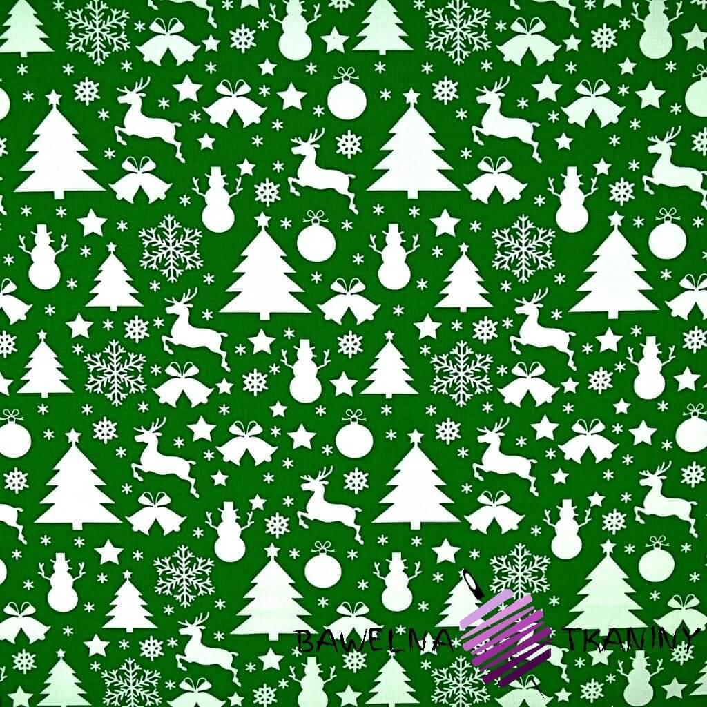 Bawełna wzór świąteczny choinki i bałwanki białe na zielonym tle