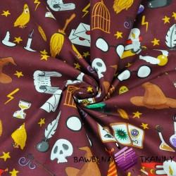 Bawełna gadżety magiczne na bordowym tle