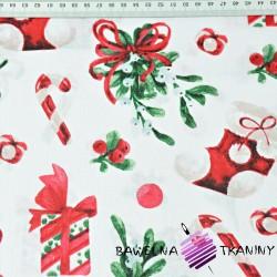 Bawełna wzór świąteczny skarpety z prezentami na białym