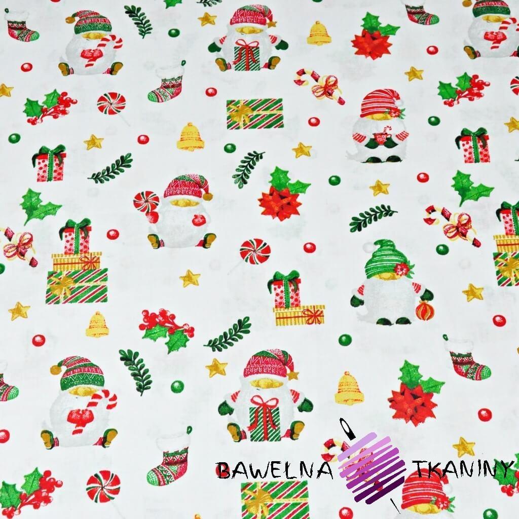 Bawełna wzór świąteczny mikołaje z prezentami na białym tle