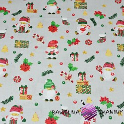 Bawełna wzór świąteczny mikołaje z prezentami na szarym tle