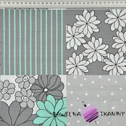Bawełna Patchwork w kwiaty biało szaro miętowy