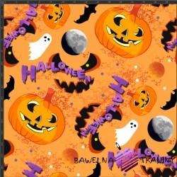 Dzianina Jersey druk cyfrowy - dynie halloween na pomarańczowym tle